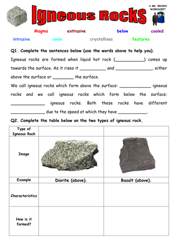 Worksheets Igneous Rock Worksheet igneous rocks worksheet by danbrown360 teaching resources tes