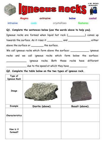 Worksheets Igneous Rocks Worksheet igneous rocks worksheet by danbrown360 teaching resources tes