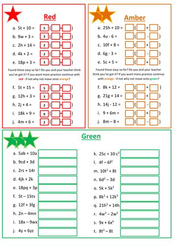 Factorising Linear Expressions Worksheet by floppityboppit ...