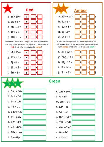 Worksheet Factorising Worksheet factorizing linear expressions worksheet by floppityboppit teaching resources tes