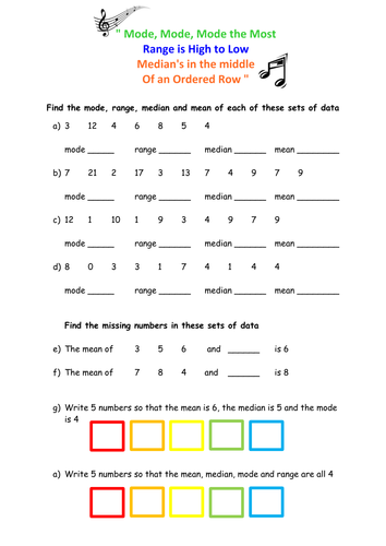 Averages and Range Worksheet by floppityboppit - Teaching ...