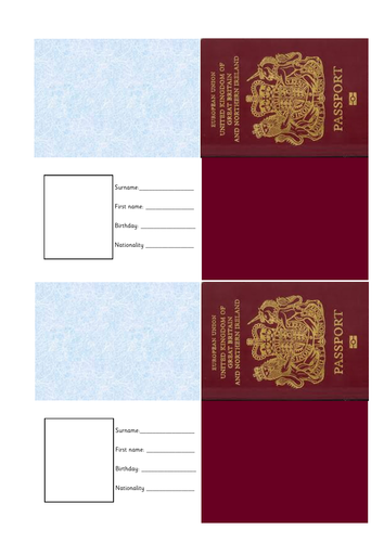 template of uk passport by j m powell teaching resources tes. Black Bedroom Furniture Sets. Home Design Ideas