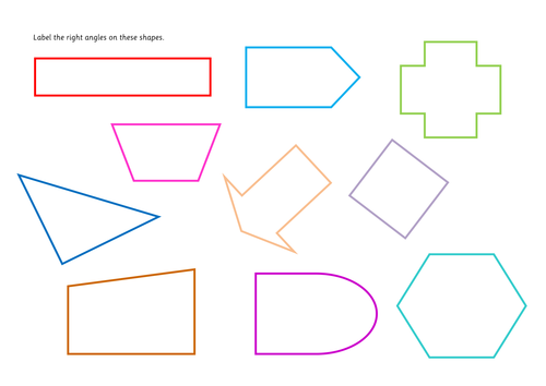 Right Angle Shapes : Labelling right angles by juliannebritton teaching