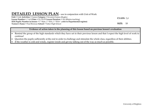 Rugby lesson plans and info