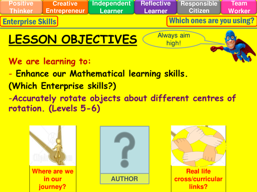 Rotation of shapes levels 5-6 lesson
