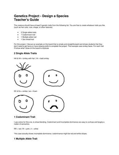 Design A Species Genetics Project By Benn195 Teaching Resources Tes