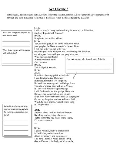 KS3 Merchant of Venice Key Scene Worksheets by FionaRigney ...