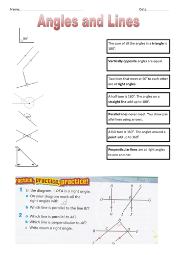 Angles and lines match up plus questions