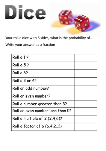 Dice and cards probability short worksheets by moth754 - Teaching ...