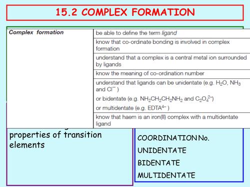 15.2 Complex Ions; tranition metals