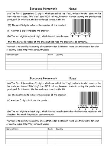 Reading Barcodes Activity
