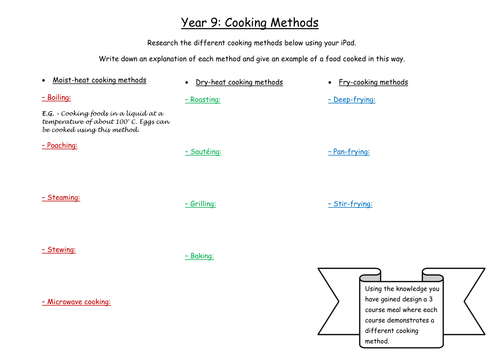Cooking Methods Worksheet