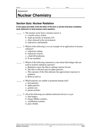 Nuclear chemistry tests and answer key by adnanansari - Teaching ...
