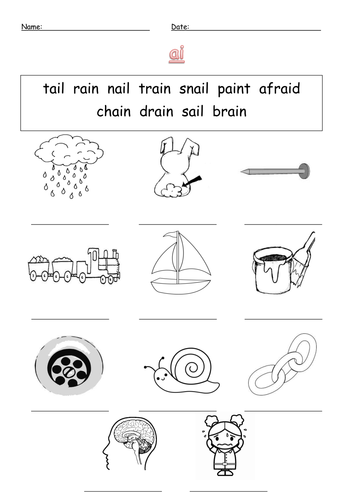 ai digraph labelling worksheet ai by barang - Teaching Resources - Tes