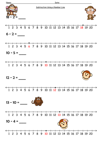 number line subtraction monkey by barang  teaching resources  tes