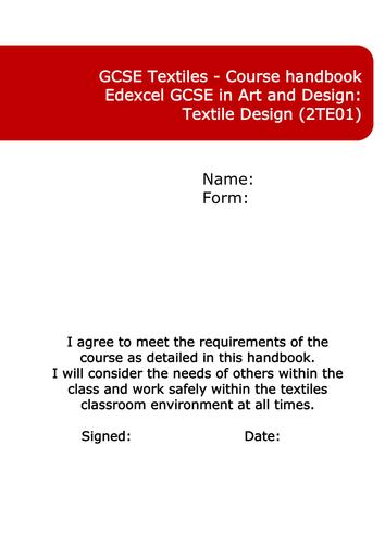 Edexcel Art and Design Textiles course handbook