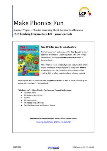 Make Phonics Fun - Summer - Phonics Check