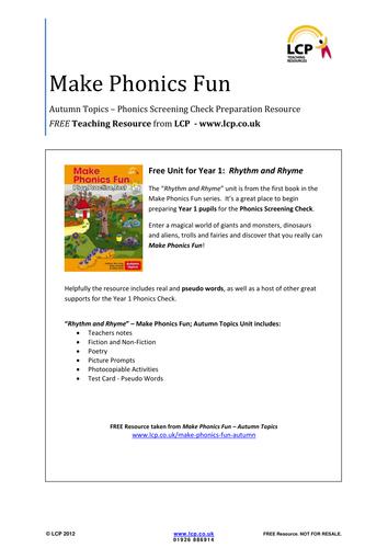 Make Phonics Fun - Autumn - Phonics Check Resource