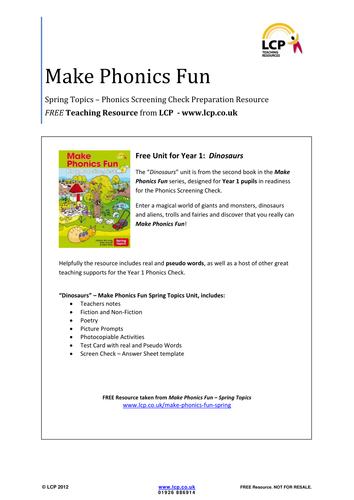 Make Phonics Fun - Spring - Phonics Check Resource