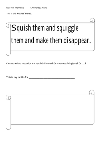The Witches Part 1 Worksheets By Sonjacoulter Teaching