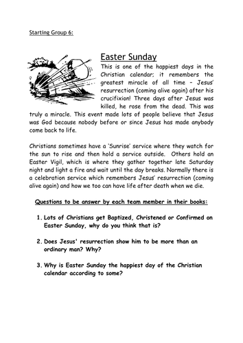 YR7 Holy Week and Easter