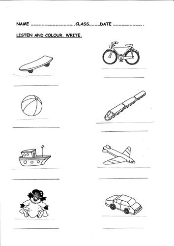 Toys; worksheet for writng, listening activity by picris