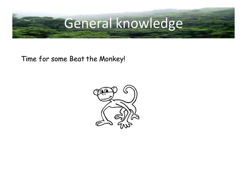 Beat the Monkey Quiz; general knowledge, template