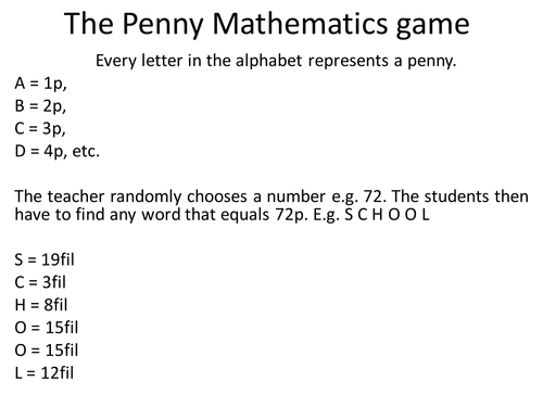 The Penny Maths and English game