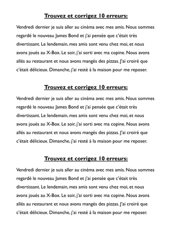 French perfect tense - spot the mistakes