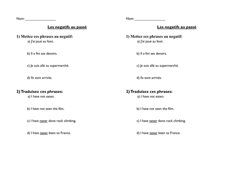 French negatives in perfect tense