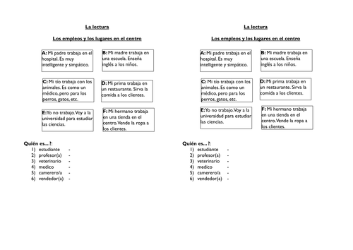 Spanish reading activity - guess the job