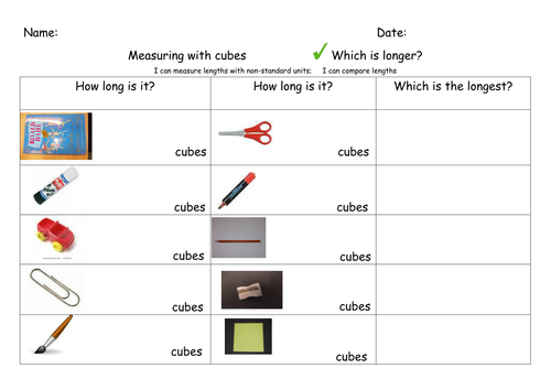 Measuring using non standard units of measurement by nicolalucas – Non Standard Measurement Worksheets