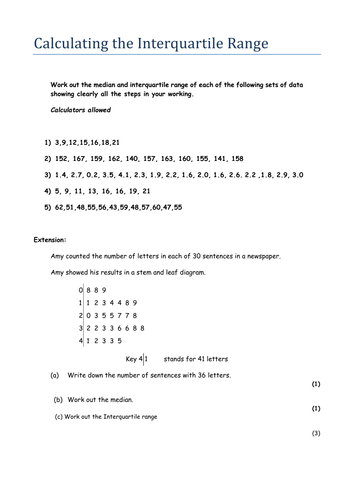 Worksheets Interquartile Range Worksheet calculating the interquartile range iqr by arout1 teaching resources tes