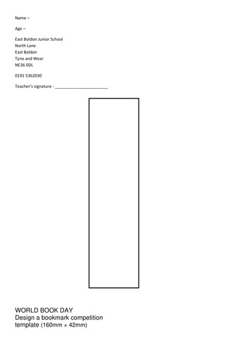 World book day design a bookmark template by dav1970 for Bookmarkers template