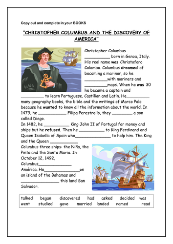 Christopher Columbus Activity By A2b Teaching Resources Tes