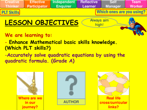 GCSE The Quadratic Formula Revision Worksheet by timcw – The Quadratic Formula Worksheet