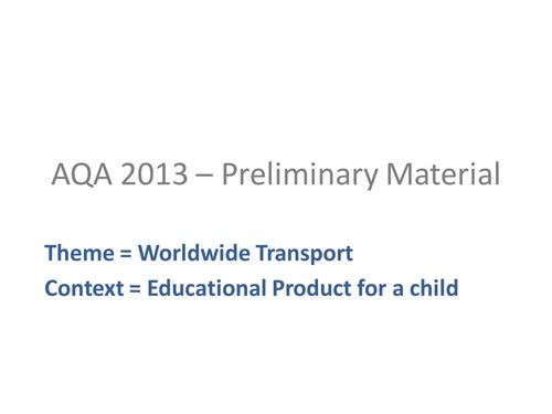 AQA 2013 Exam pre-release Worldwide Transport