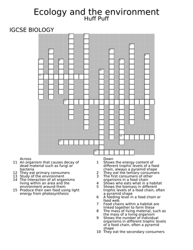 Ecology and the environment crossword