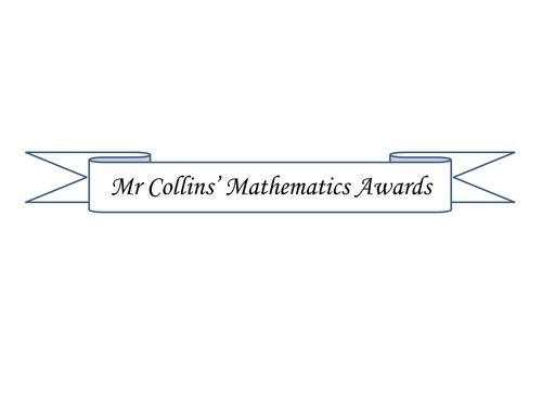 Mathematics Awards/Certificates