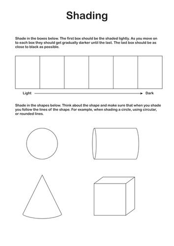 Ks3 Art Shading Worksheet By Discophile Teaching