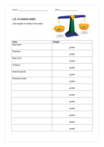 Weight and <em>weighing</em> classroom items.