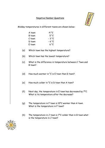 Negative numbers, difference by sdhubab - Teaching Resources - Tes