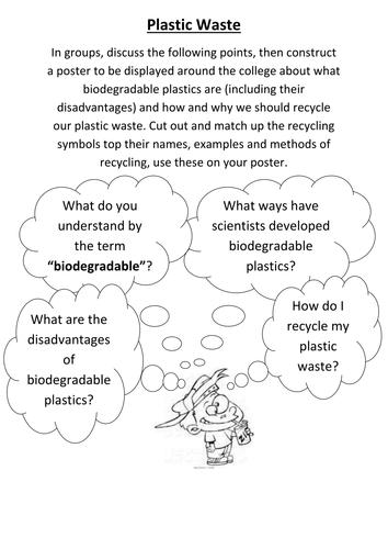 Plastic waste poster task