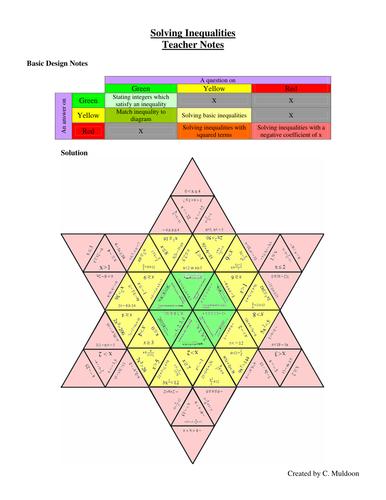 Inequalities Red Yellow Green Tarsia Star
