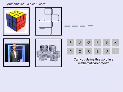 Mathematics 4 pics 1 word - 3D Shapes