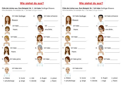 German: Hair, Eye Colour Gap Fill - Differentiated