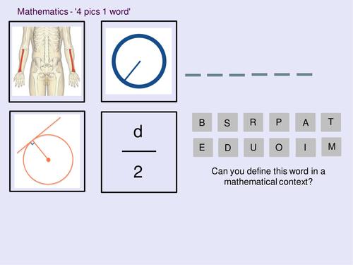 Mathematics 4 pics 1 word - Circles