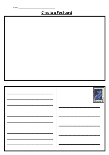 postcard template by kategc teaching resources tes