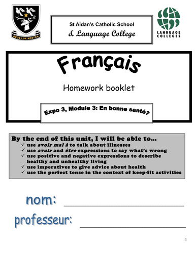 Expo 3 Homework booklets