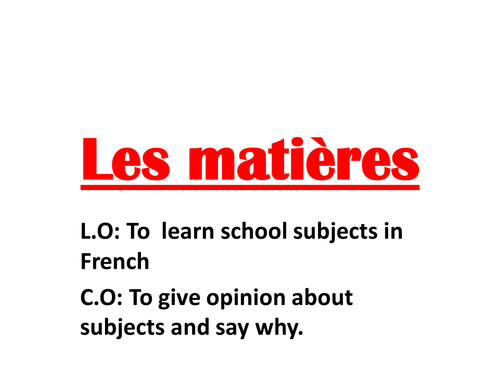 French Worksheet On Opinions Of School Subjects By Rosaespanola